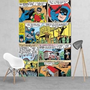 Batman And Robin Comic Strip Feature Wall Wallpaper Mural 158cm X 232cm