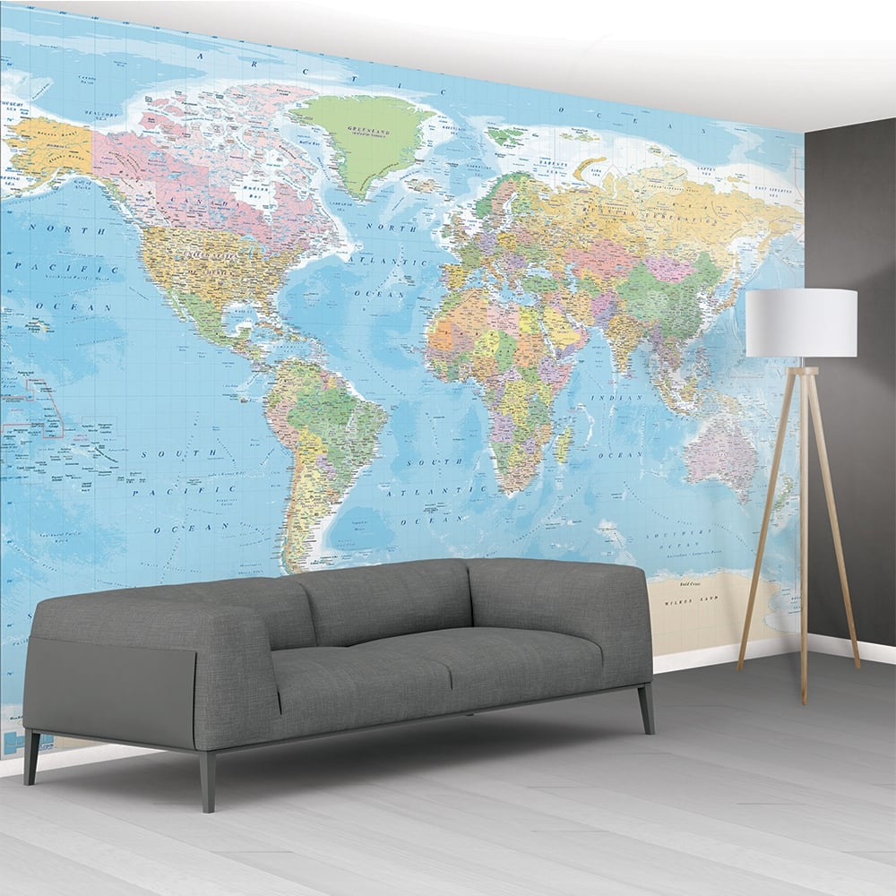 1wall big blue educational map mural wallpaper 366cm x 232cm for Educational mural