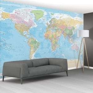 1Wall Big Blue Educational Map Mural Wallpaper | 366cm x 253cm