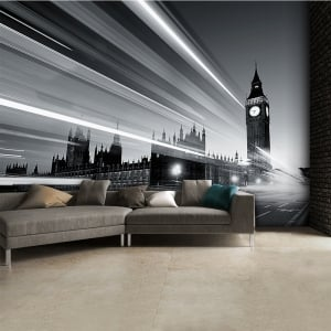 Black and White Big Ben Wall Mural | 315cm x 232cm