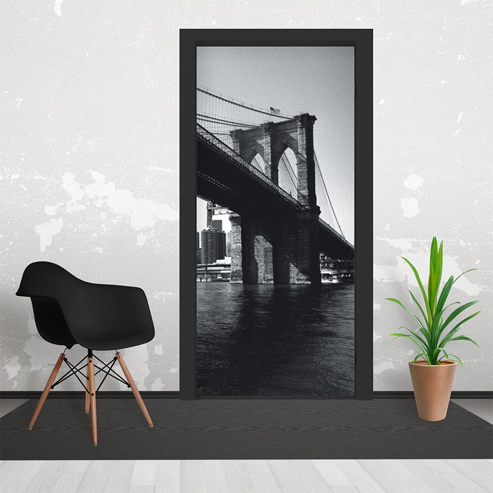 Black and white brooklyn bridge cityscape door wallpaper 3 for Cityscape murals photo wall mural