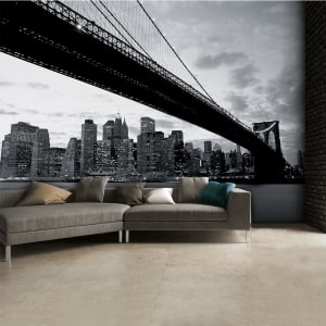 Black and White Brooklyn Bridge Skyline Wall Mural | 315cm x 232cm