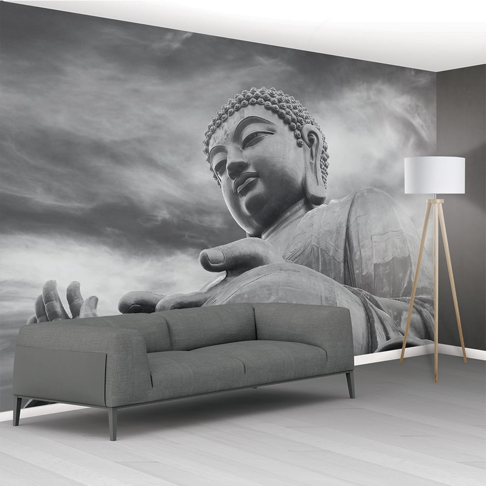 1Wall Black And White Buddha Statue Zen Mural Wallpaper 366cm x