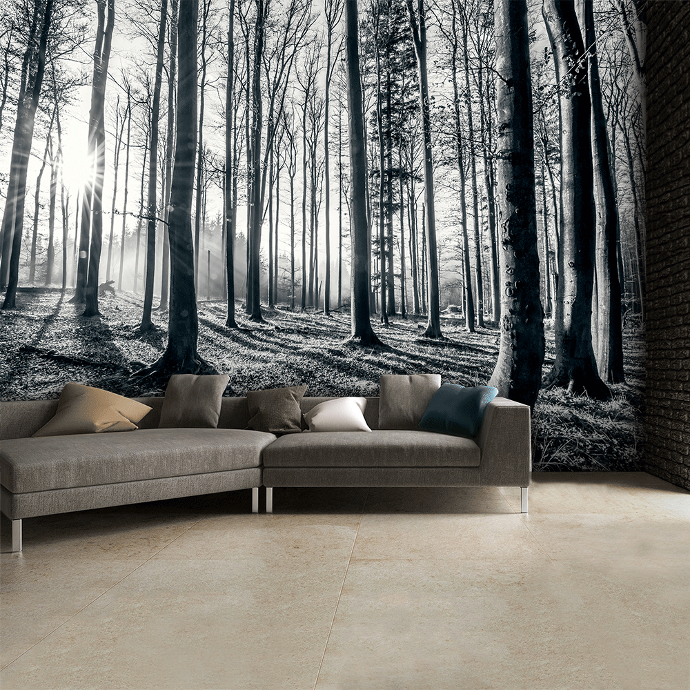 1wall black and white forest trees mural wallpaper 315cm for Black tree mural
