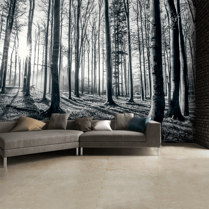 1wall black and white forest trees mural wallpaper 315cm for Black and white tree wallpaper mural