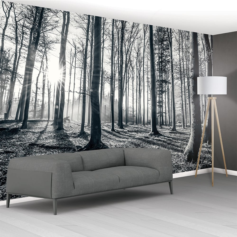 1wall black and white forest trees mural wallpaper 366cm for Black and white tree wallpaper mural