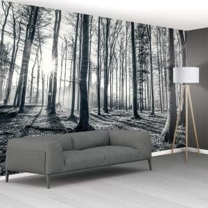1Wall Black and White Forest Trees Mural Wallpaper | 366cm x 253cm