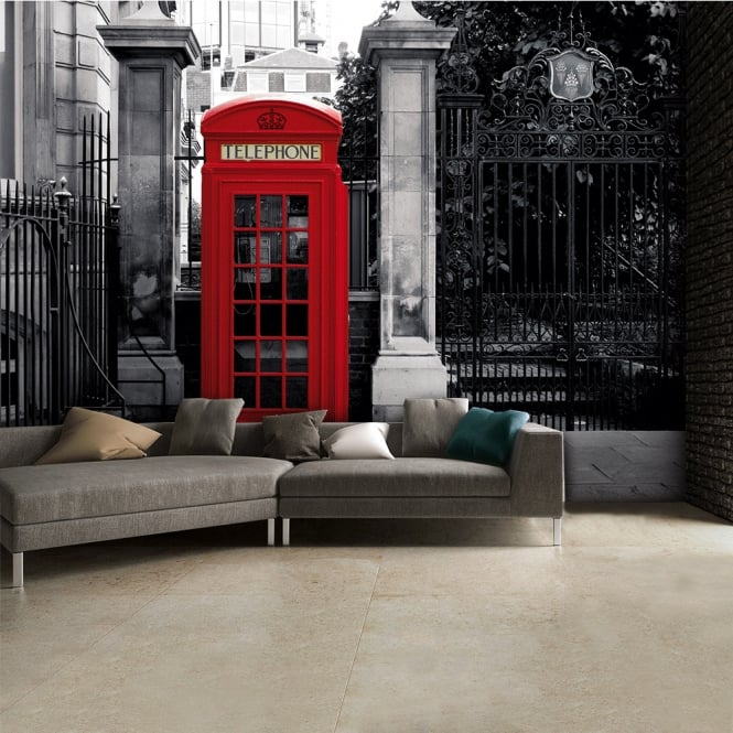 1Wall Black and White Iconic Red London Phone Box Wall Mural | 315cm x 232cm