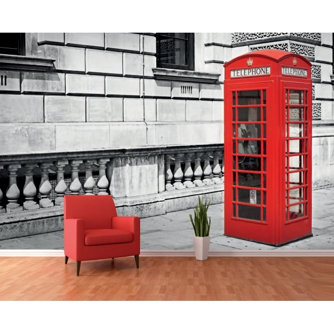 1Wall Black and White Iconic Red London Phone Box Wall Mural | 366cm x 253cm