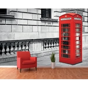 Black and White Iconic Red London Phone Box Wall Mural | 366cm x 253cm
