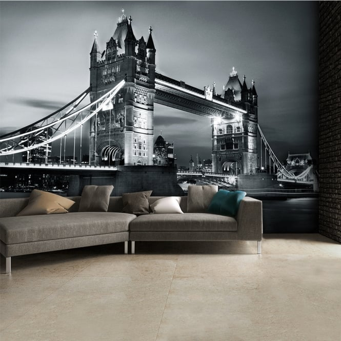 1Wall Black and White London Tower Bridge Wall Mural | 315cm x 232cm