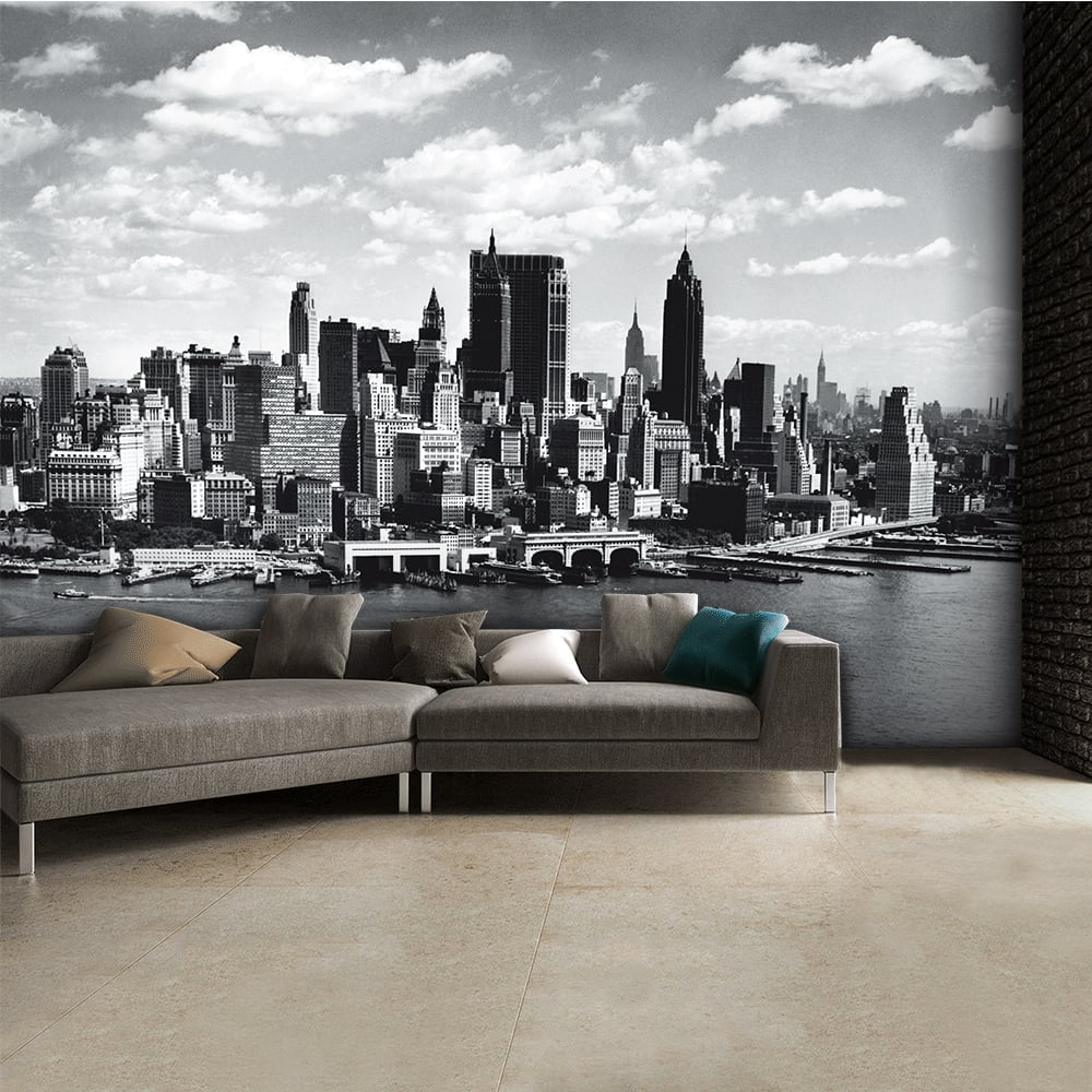 Black and white new york city skyline wall mural 315cm x for Cityscape murals photo wall mural