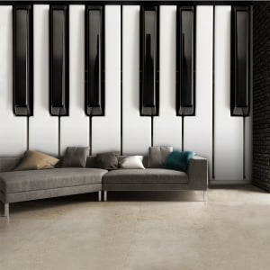 Black and White Piano Keys Music Wall Mural | 315cm x 232cm