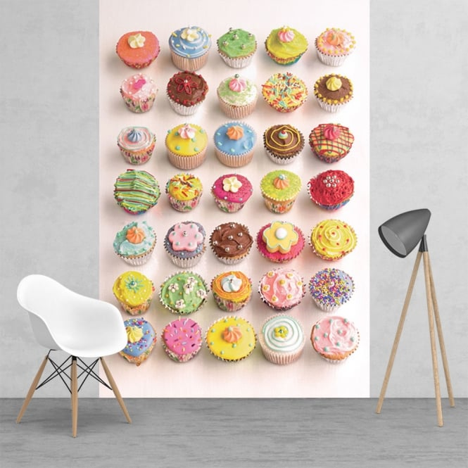 1Wall Bright and Colourful Howard Shooter Cupcakes Wall Mural | 158cm x 232cm