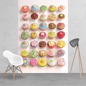 Bright and Colourful Howard Shooter Cupcakes Wall Mural | 158cm x 232cm