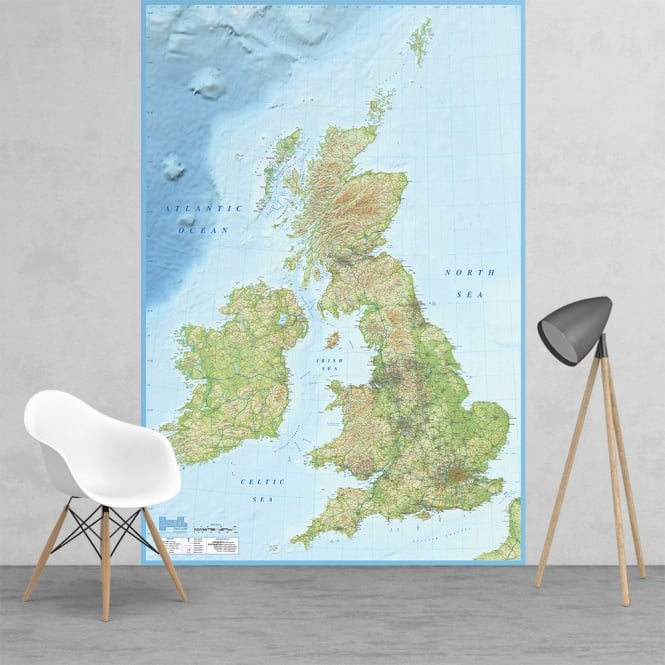 1Wall British Isles Map Feature Wall Wallpaper Mural | 158cm x 232cm