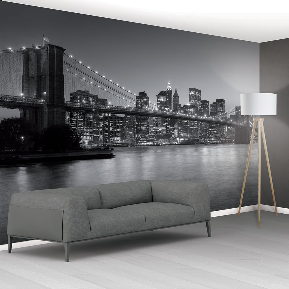 1wall brooklyn bridge new york mural wallpaper 366cm x 232cm for Black and white new york mural wallpaper