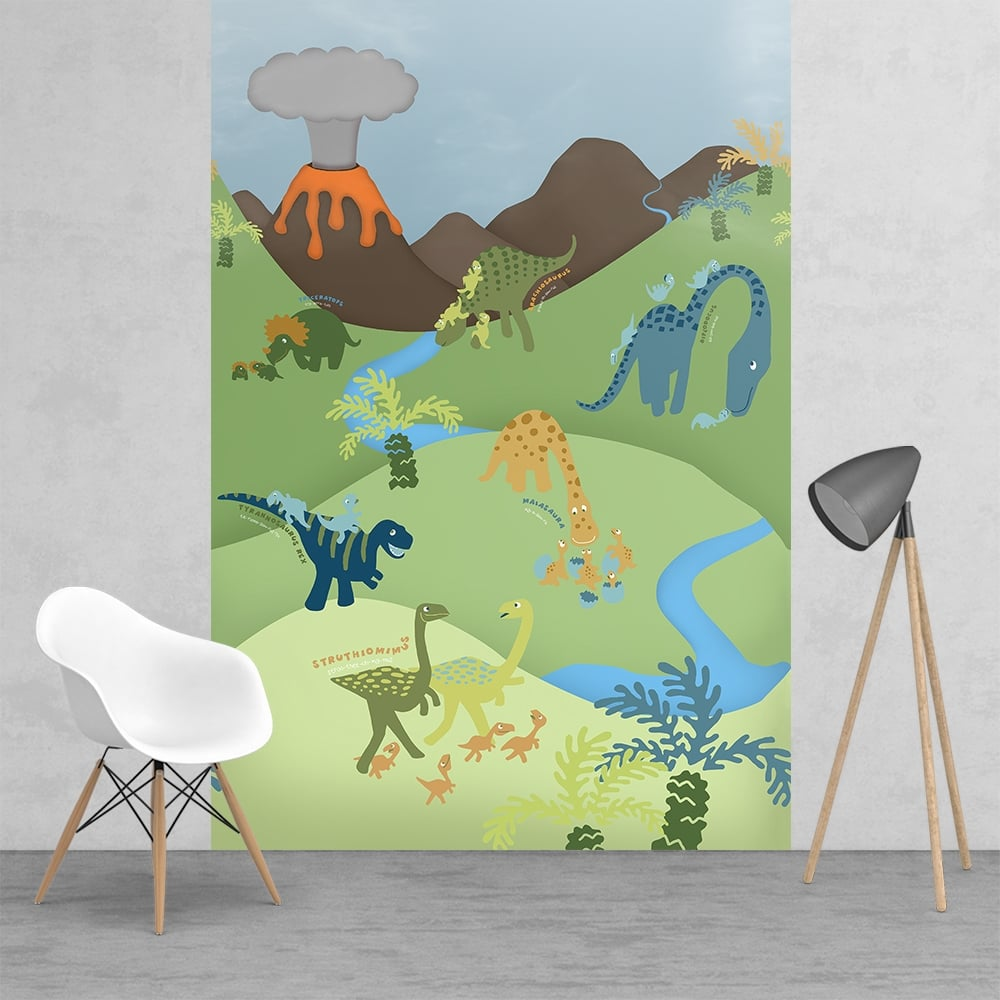1wall cathrine lansfield childrens dinosaur feature wall for Childrens wall mural wallpaper