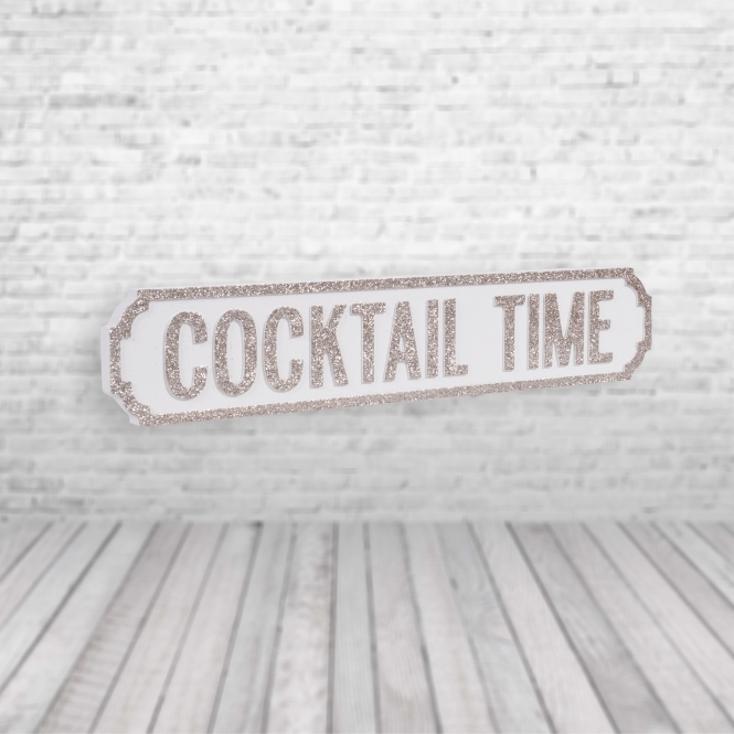 1Wall Cocktail Time Vintage Road Sign / Street Sign | Perfect for your Kitchen White Champagne