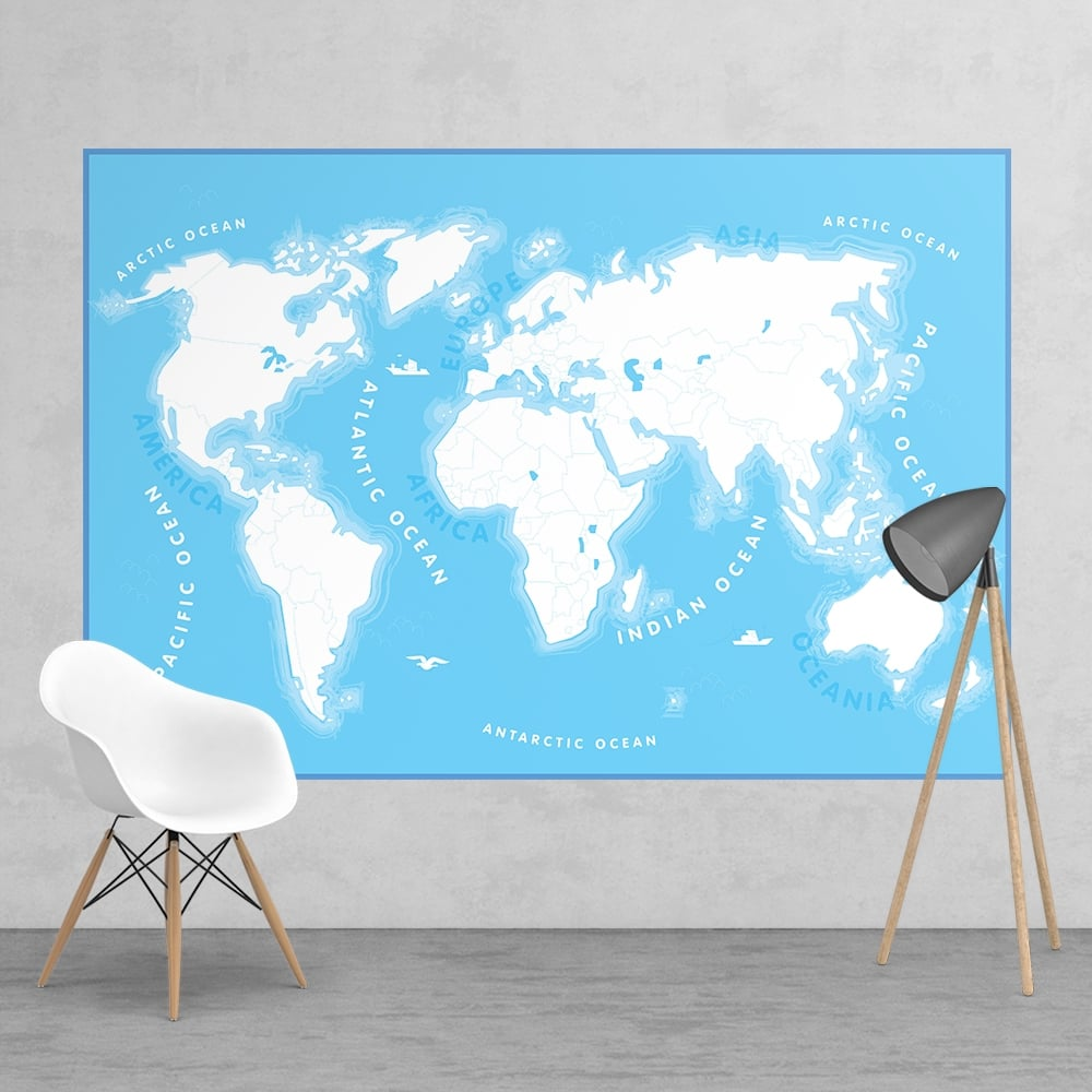 Colour in kids map educational wall mural 158cm x 232cm for Educational mural