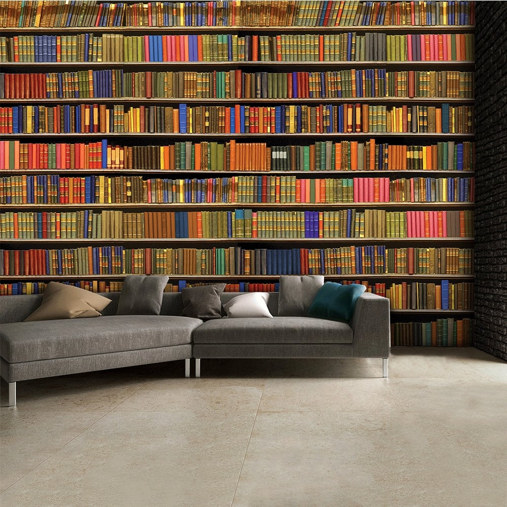 1wall colourful library bookshelf wallpaper mural x for Bookshelf mural wallpaper