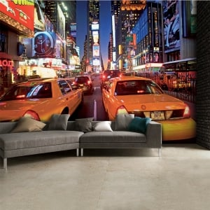 Colourful New York City Taxi Cab Time Square Wall Mural | 315cm x 232cm