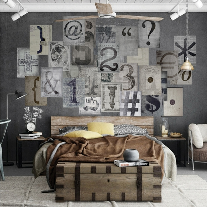 1Wall Creative Collage Typo 1 64 piece Wallpaper