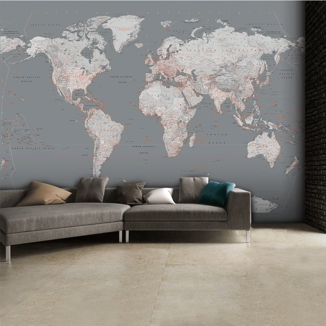 Detailed silver grey world map feature wall wallpaper for Black and white world map mural