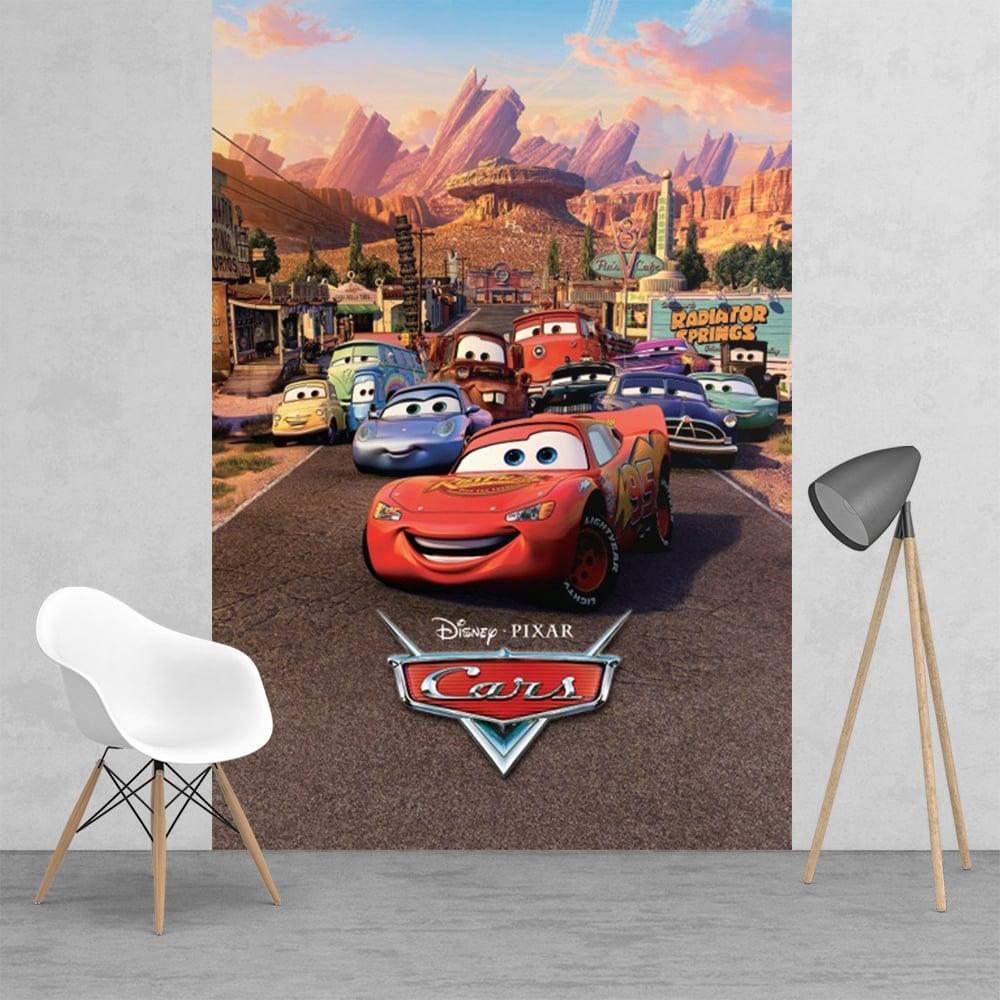 Disney cars lightning mcqueen feature wall wallpaper mural for Car wall mural wallpaper