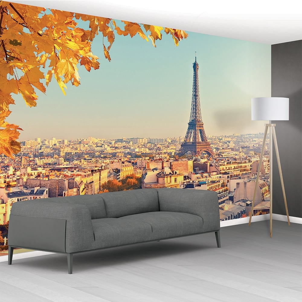 1wall eiffel tower cityscape mural wallpaper 366cm x 232cm for Cityscape wall mural