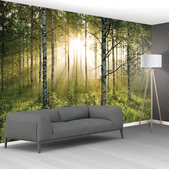 1wall green forest tranquil forest scene mural wallpaper for 1wall forest wallpaper mural