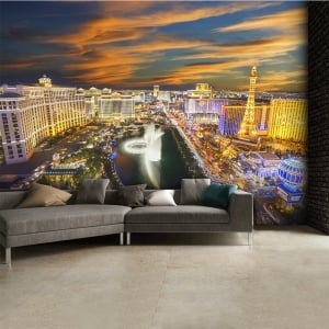 Las Vegas at night Skyline Wall Mural | 315cm x 232cm