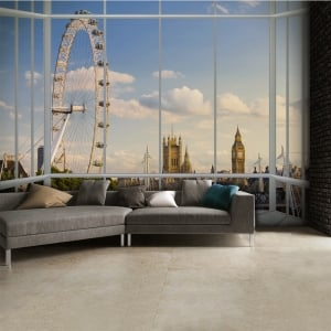 London Window Scene Skyline Wall Mural | 315cm x 232cm