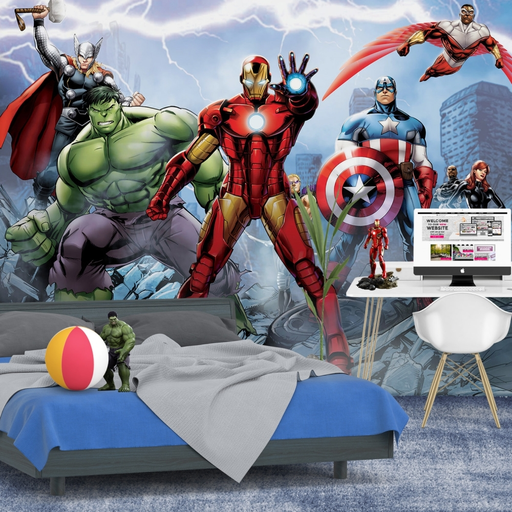 1wall marvel avengers wall mural wallpaper 254cm x 360cm. Black Bedroom Furniture Sets. Home Design Ideas