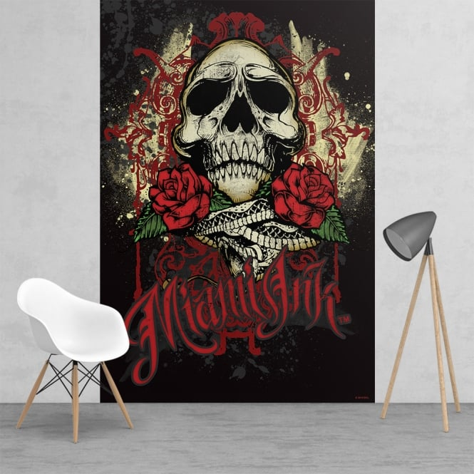 1Wall Miami Ink Tattoo Skull Black and Red Feature Wall Wallpaper Mural | 158cm x 232cm