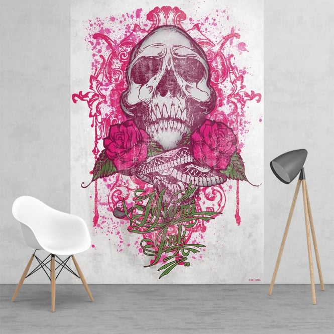 1Wall Miami Ink Tattoo Skull Pink and White Feature Wall Wallpaper Mural | 158cm x 232cm