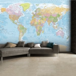 Modern Educational Blue World Map Wallpaper Mural | 315cm x 232cm