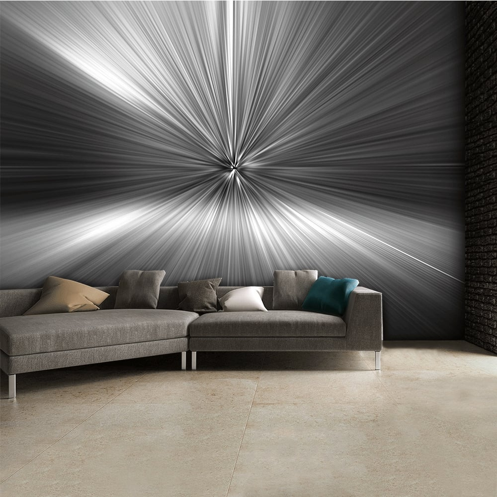 Modern geometric black and white silver blast abstract for Black wall mural