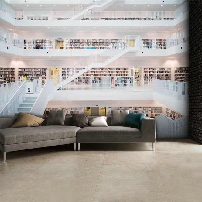 1Wall Modern White Multi Level Library Abstract Wall Mural | 315cm x 232cm