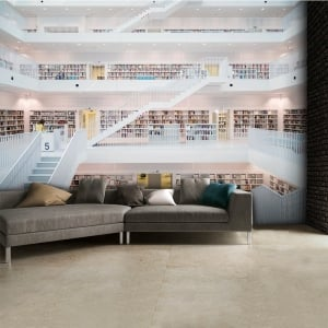 Modern White Multi Level Library Abstract Wall Mural | 315cm x 232cm