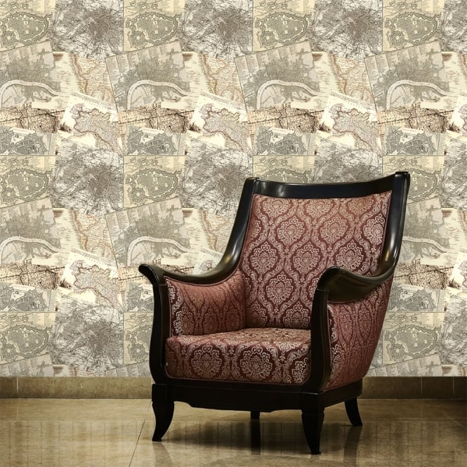 1Wall Neutral Mixed World Maps Collage Wallpaper 53cm x 1005cm