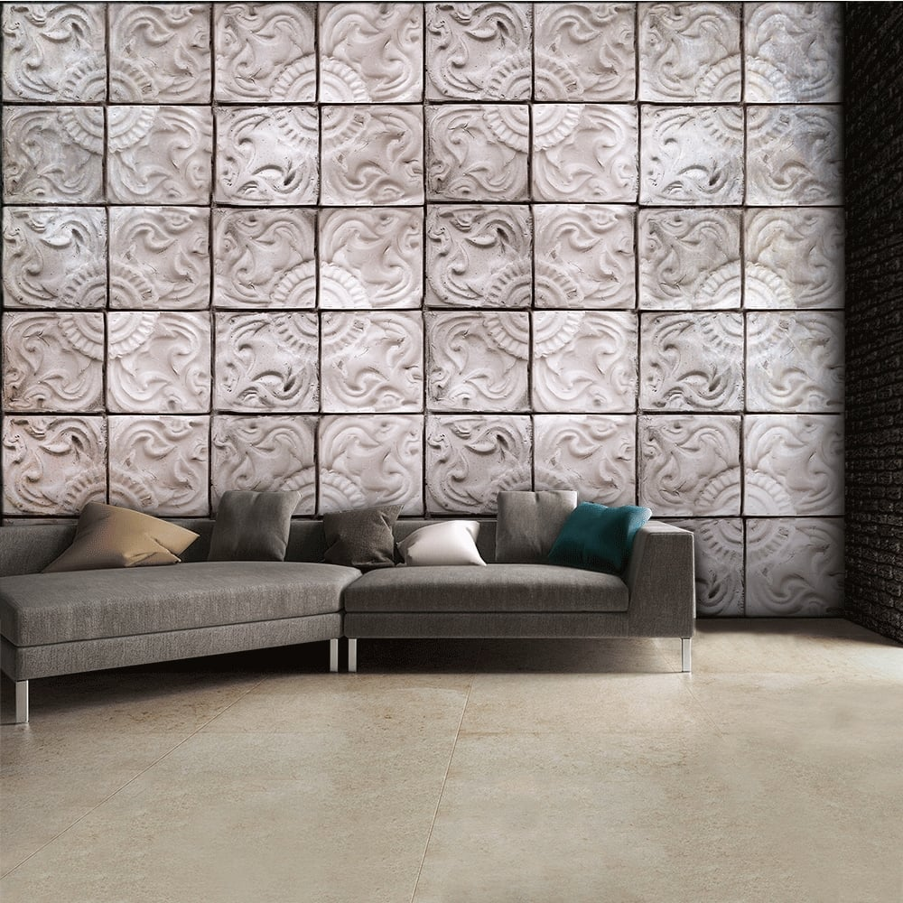 Neutral Patterned Textured Tin Tile Effect Wall Mural 315cm x 232cm