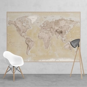 Neutral World Map Feature Wall Wallpaper Mural | 158cm x 232cm