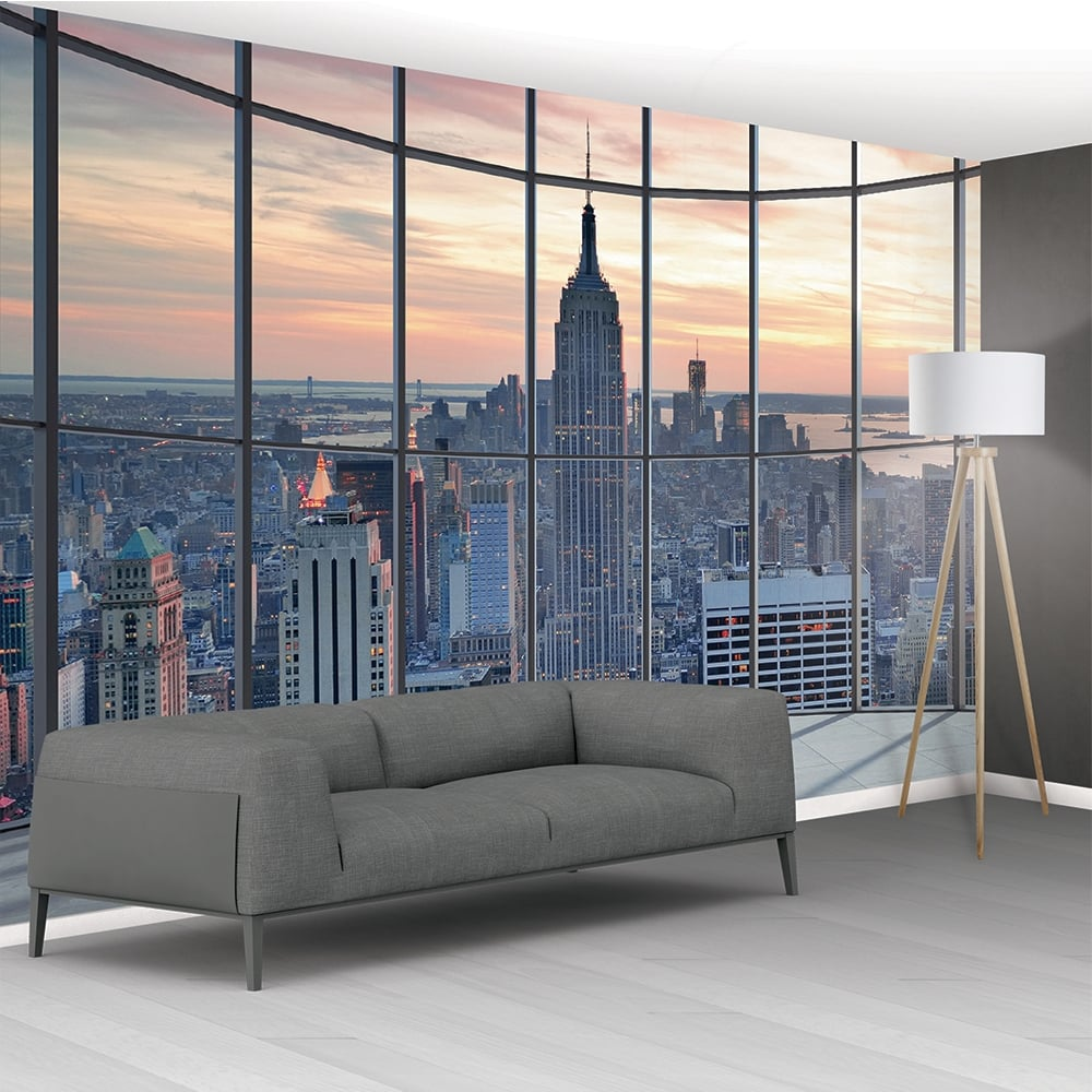 1wall new york city scape window view mural wallpaper for Black and white new york mural wallpaper