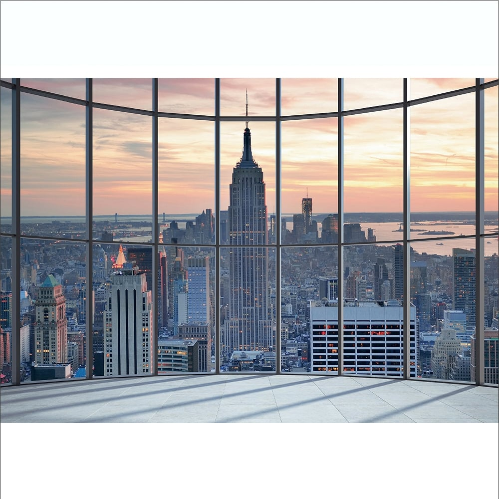 1wall New York City Scape Window View Mural Wallpaper 366cm X 253cm