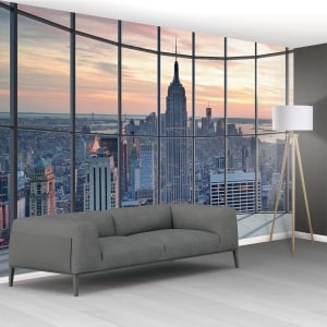 1Wall New York City Scape Window View Mural Wallpaper | 366cm x 254cm