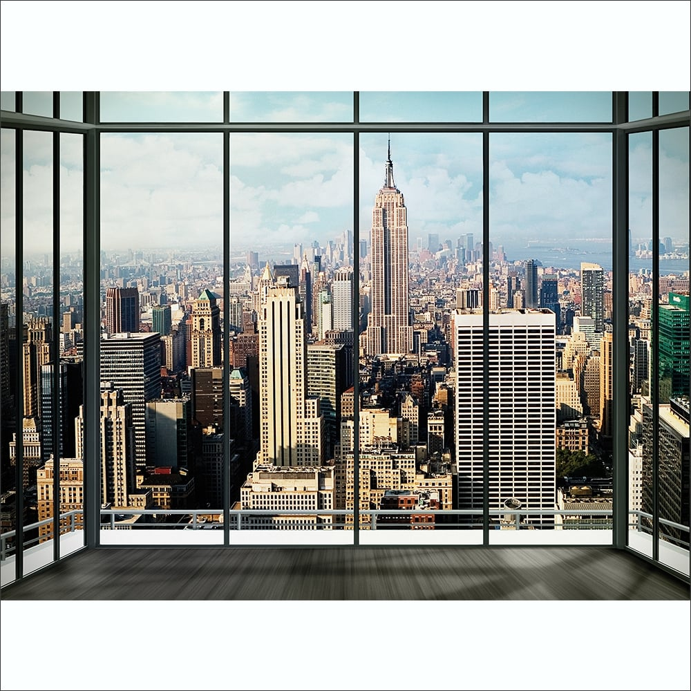 New York City Window Effect Skyline Wall Mural