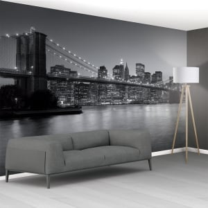 Xxl murals 366cm x 253cm for Brooklyn bridge black and white wall mural