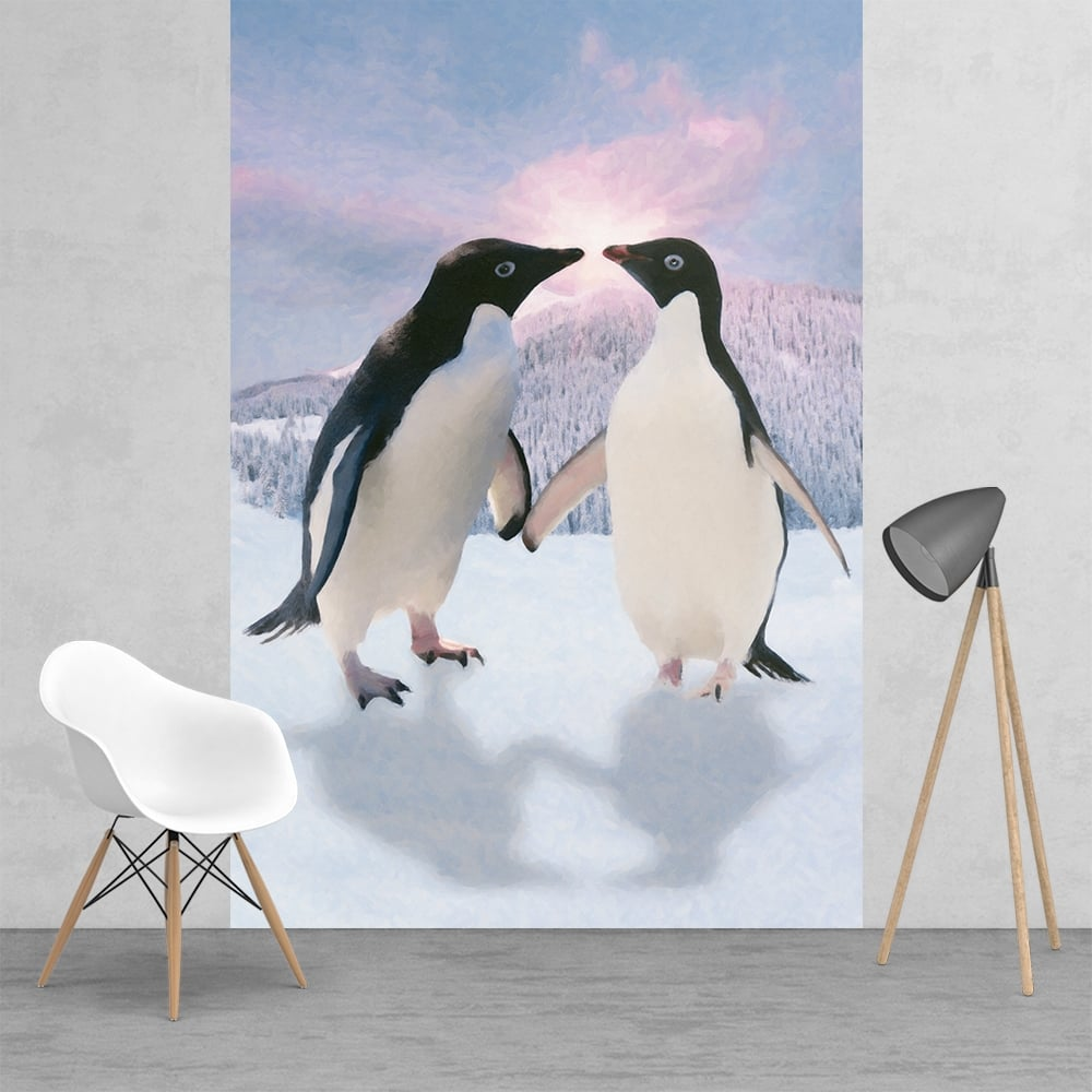 Penguins In Love Monty And Mabel Style Feature Wall Wallpaper Mural