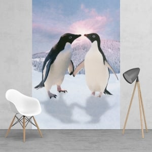 Penguins in love Monty and Mabel style Feature Wall Wallpaper Mural | 158cm x 232cm